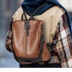 NEW Backpack Waterproof Anti-theft PU Leather BR